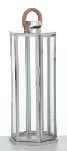 Hexagon Polished Stainless Steel Lantern Medium